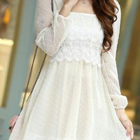 white summer long sleeve dress embroidered sale 024X from GHL   ---- search for me in Marketplace