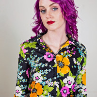 vintage floral button up shirt / 70s polyester shirt / womens black floral blouse / colorful long sleeve button down
