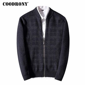 Sweater Men New Winter Thick Warm Merino Wool Cardigan Casual Plaid Zipper Cashmere Sweater coat Men