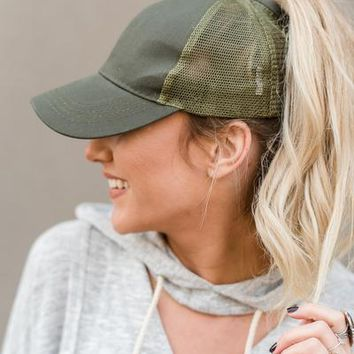 Messy Bun Baseball Hats - Olive
