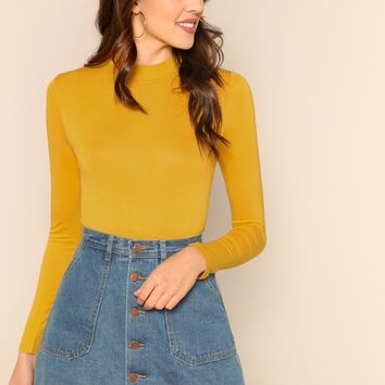 Yellow Mock Neck Solid T-Shirt
