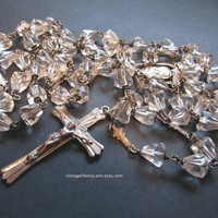 Vintage Rosary Beads, Clear Crystal Glass, Religious Jewelry