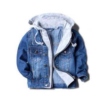 Trendy Handsome boy jackets coats hooded children kids spring&autumn baby boys denim jackets fashion coats kids outwear high qulity AT_94_13