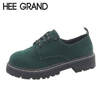 HEE GRAND Women Oxfords Fashion Flats Woman British Style Footwear with Lace-up Thick Heel Shoes XWD6143