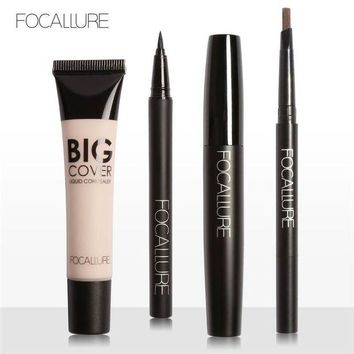LMF57D FOCALLURE 4Pcs Bright Cosmetics Makeup Set Face Concealer Cream Eyebrow Pencil Mascara Cream Makeup Base