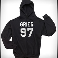 Grier 97 White Ink on Front Nash Grier Unisex Pullover Hoodie