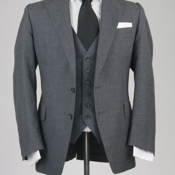 Vintage Christian Brooks Gray Pinstripe 3 Piece Wool Vested Suit 44 R
