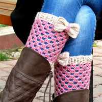 Vanilla Pink Short Knit Boot Cuffs with bow. Short Leg Warmers. Crochet Boot Cuffs. Bow boot cuffs. Bow Accessory