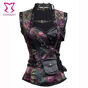 Purple Sexy Steampunk Corset Gothic Clothing Steel Boned Corsets Plus Size Women Victorian Burlesque Costumes With Jacket S-6XL