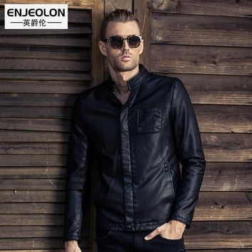 Leather PU Jackets Men Winter fashion Clothing button fly Stand collar Male black Casual Coats