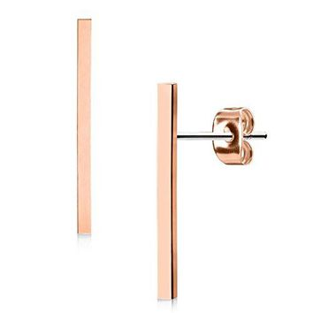 BodyJ4You Long Bar Earrings Studs Brushed Finish 20mm Stainless Steel Post Ear Stud Women Rose Goldtone