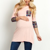 Light-Pink-Tribal-Accent-3/4-Sleeve-Maternity-Top