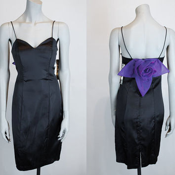 Vintage 90s Dress / 1990s Deadstock Minimalist Avant Garde Black Satin Dress S