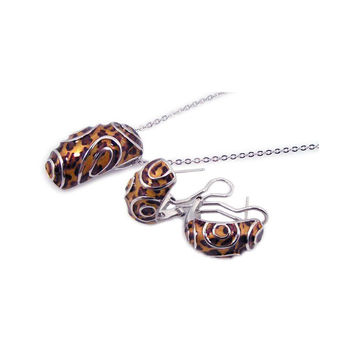 .925 Sterling Silver Rhodium Plated Brown Leopard Print French Clip Earring &  Necklace Set: SOD