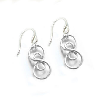 Sterling Silver Double Infinity Earrings Wire Wrapped Jewelry gift