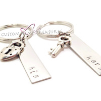 NO LONGER OFFERING CHRISTMAS DELIVERY His And Hers keychains with lock key charms Couples Keychains, His Hers Gift