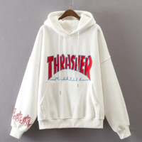 """Thrasher"" Fashion women and man letters Hooded pullover loose long sleeve top sweater coat"