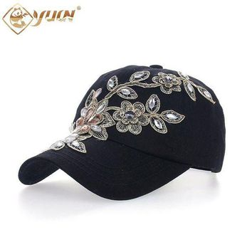 ESBG8W 2017 Vintage Style Adjustable Hat Floral Embroidery Rhinestone Curved Baseball Cap For Women B038