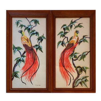 Bird of Paradise Art Prints by Evelyn Hott in Vintage Wood Frames (1950-1960) Shabby Cottage Mid Century Decor