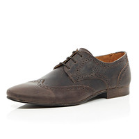 River Island MensBrown distressed leather formal brogues