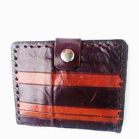 Soviet Vintage Leather Wallet, USSR Design Wallet, Dark Purple, Brown Stripes Wallet