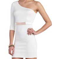 Gold Bar Belted One Shoulder Dress by Charlotte Russe - White