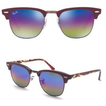 NEW GENUINE Clubmaster Rayban Sunglasses RB3016 1221C2 49 Bordeaux/ Blue Rainbow