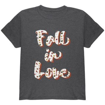 ESBGQ9 Autumn Fall in Love Leaves Pattern Youth T Shirt