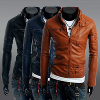 men coat 2015 leather coat zipper button Slim Male Leather Jacket Men Motorcycle Coats Zipper Men's Clothes Man Jackets,YW1376