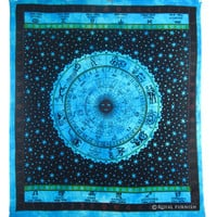 Queen Size Indian Hindu Zodiac Horoscope Print Tapestry Bed Cover