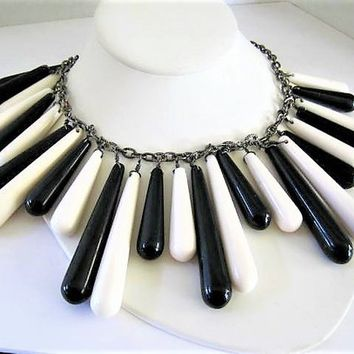 Black White Glass Necklace, Dangle Beads, Statement Bib Necklace