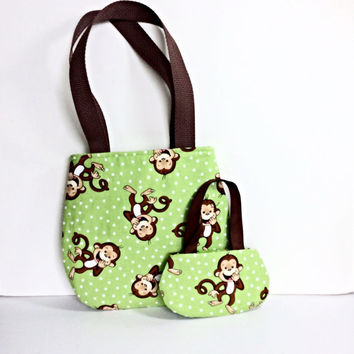 18 Inch Doll Purse, Girl Purse, Matching Doll and Girl Purses, Green Monkey Purses, Doll and Girl Purses, Sized for American Girl Dolls