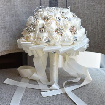 Newest Cream Artificial Wedding Bridal Bouquets Flowers Foam Ball Durable Silk Throw Wedding Bouquet for wedding decoration