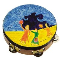 Miriam and Drums Hand Painted Leather Tambourine