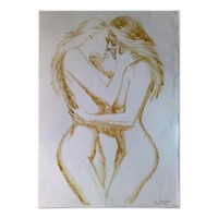 Lesbians kissing, coffee painting poster