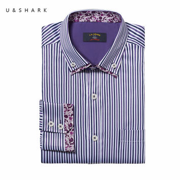 Slim Fit Purple Striped Button down Collar Casual Shirt Men Blouse Long Sleeve Fashion Male Shirt Social