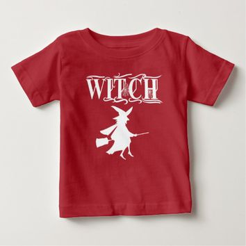 Cute Flying Halloween Witch White Typography Shirt