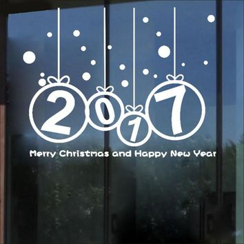 New Year 2017 Merry Christmas Wall Sticker Home Shop Windows