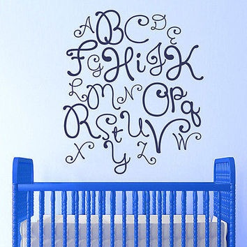 Alphabet Decal Baby Wall Decals Letters Kids Room School Nursery Decor DS125