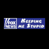 """FOX NEWS : Keeping Me Stupid"" White on Purple Bumper Sticker 11.5"" x 3"""