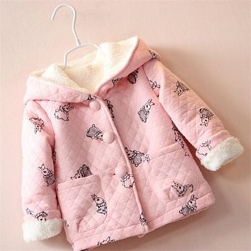 BibiCola 2017 baby girl coat pure pink warm winter hoodies children outwear trench fashion clothing Children's Coat