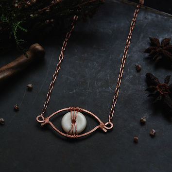 auga • eye necklace - viking necklace - copper choker - viking jewelry - eye choker - witch jewelry - nordic jewelry - third eye necklace