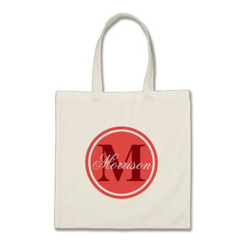 Red Prestige Monogram Tote Bag