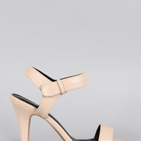Qupid Open Toe Ankle Strap Heel