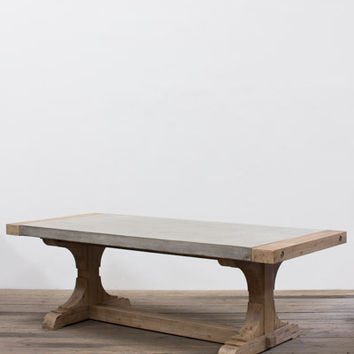 Concrete Dining Table With Wooden End Caps & Wooden Trestle Base