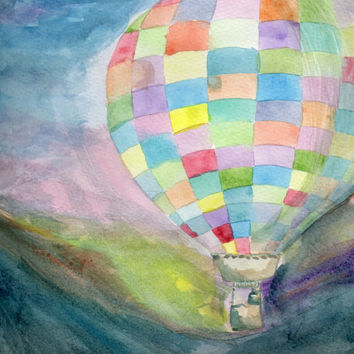 Hot Air Balloon Watercolor Painting, Flight Art, Sunset and Nature Painting