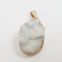 White Gold Druzy Druze Stone Pendant With Loop, White Electroplated  In Gold Drussy Druzzy Drusy teardrop, Select  With Or Without Chain