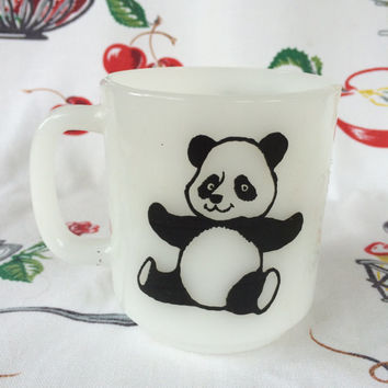 1960s Glasbake Panda Mug Milk Glass Cup Vintage Kitchen Black White