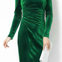 Green Long Sleeve A-Line Midi Dress