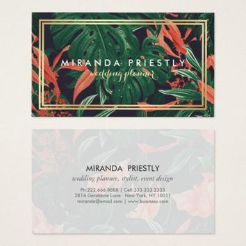 Tropical Flower Plant Gold Frame Wedding Planner Business Card